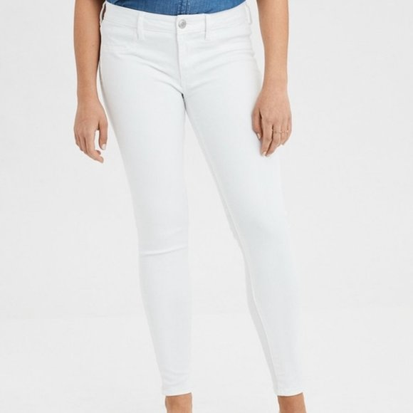 AEO STRETCH LOW RISE WHITE JEGGINGS